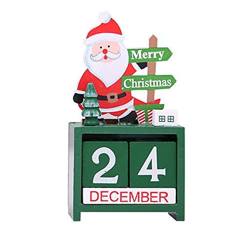 Iusun Weihnachtskalender Weihnachten Tischdekoration Advent Countdown Schlafzimmer Schreibtisch Cartoon Ornament für Zuhause Büro Zubehör Geschenk, grün