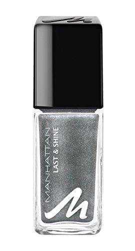 Manhattan Last & Shine Nagellack – Silberner, glänzender Nail Polish mit Glitzer für 10 Tage perfekten Halt – Farbe Silver Chrome 905 – 1 x 10ml