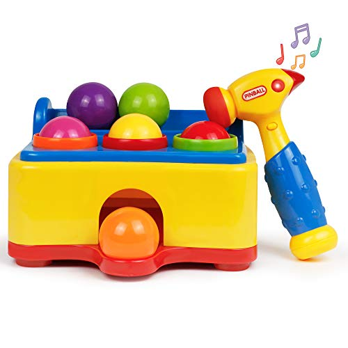 Bambiya Pound a Ball Game with Hammer and 6 Balls -Baby Toy with Fun Lights and Sound Effects - Hours of Fun and Skills Development with Baby Ball Popper Game. ASTM Certified