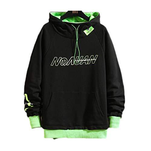 Herren Hoodie Sweatshirt Rollkragenpullover Kangaroo Pockets Color Block Jacken, Herren Hip-Hop Premium Slim-Fit Sportjacke (Color : Green, Size : M)