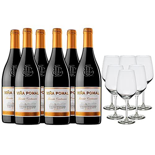 Viña Pomal Pack Vino Tinto - 6 botellas de Viña Pomal Terruño Centenario Reserva de 75 cl y 6 copas - 4500 ml