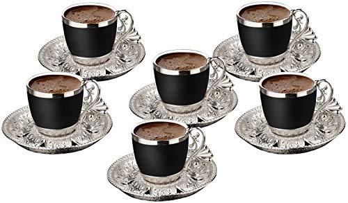 Set mit 6 Stück Demmex türkisch griechisch arabisch Kaffee Espresso Demitasse Tasse Untertasse Löffel Set schwarze Tassen (Silber)