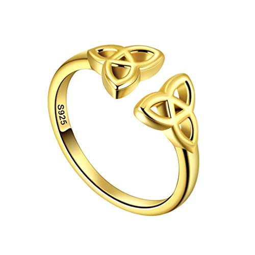 Celtic Irish Knot Adjustable Open Ring Celtic Jewelry for Women Sterling Silver 18K Gold Plated Triskele Knot Eternity Band Ring Amulet Engagement Ring FR0005Y