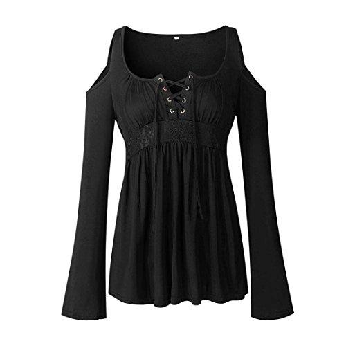 Lazzboy Women Deep V Neck Off Shoulder Slim fit Drawstring Lace Patchwork Long Sleeve Tops Blouse Pullover Plus Size(20,Black) steampunk buy now online