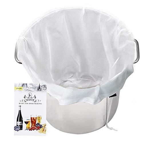 MAIYUE Brew Bags Reusable 175 Micron Fine Mesh Bag, All Purpose Food Strainer - Food Grade BPA-Free - Ultra Strong Fine Nylon Mesh, Grape Wine Press Drawstring Straining Brew in a Bag(2 pcs-22'×26')
