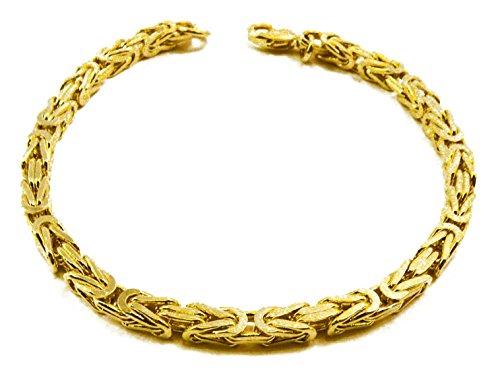 Königsarmband 18kt vergoldet 4 mm Länge 17 cm Armband Herren-Armband Goldarmband Damen Geschenk Schmuck ab Fabrik Italien tendenze BZG4-17