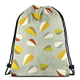 Lsjuee Mid Century Modern Graphic Leaves Pattern 1. Vintage Green 3D Print Mochila con cordón Bolso de Hombro No Tejido Durable Sports Gym Sack Cinch Bag 16.9 x 14 Pulgadas