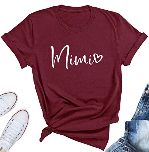 KIDDAD Mimi Shirt Womens Mimi Heart Graphic Print T Shirt for Grandma Casual Short Sleeve Tee Top Red