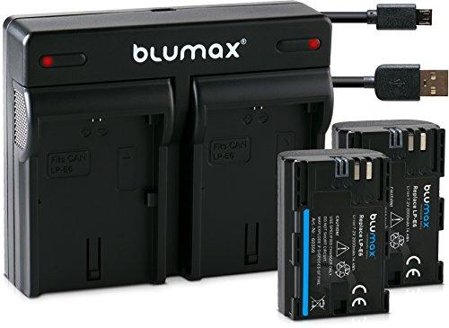 Blumax 2X Akku 2000mAh für Canon LP-E6/LPE6 + USB Mini Dual-Ladegerät für Canon EOS 70D 60D 60Da 7D Mark II 6D Mark I II 5D Mark II III IV