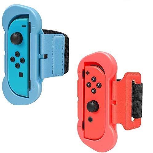 Armband Joy Con Grip kompatibel für Nintendo Switch Just Dance 2019 2020, Einstellbare Elastische Handgelenksband Tanzgriff Grips für Switch Just Dance/Mario Tennis Ace/Fitness Boxing (Red & Blue)