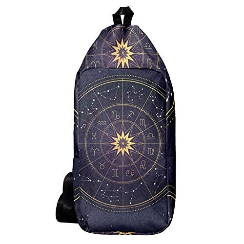 EZIOLY Mochila de hombro con rueda del zodiaco, bolso bandolera de viaje, senderismo, mochila para hombres y mujeres