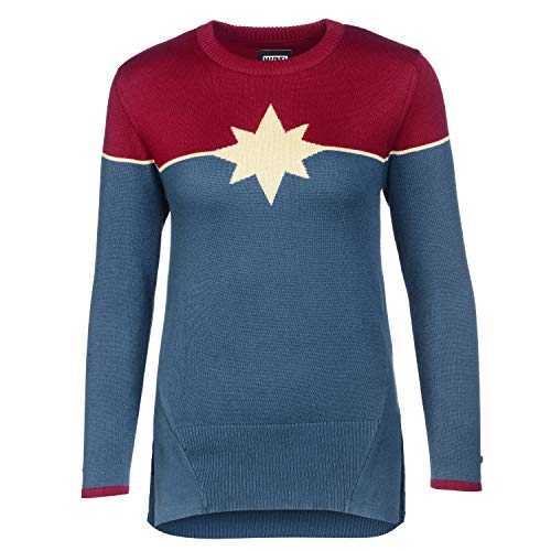 Musterbrand Marvel Crew Neck Donna Captain Marvel Blu XS