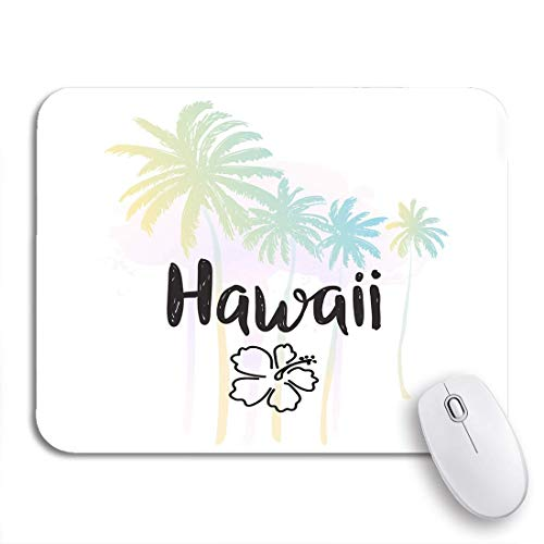 Gaming Mouse Pad Hawaii Watercolor Summer Palm Trees Hibiscus Flower and Lettering Nonslip Rubber Backing Mousepad for Notebooks Computers Mouse Mats