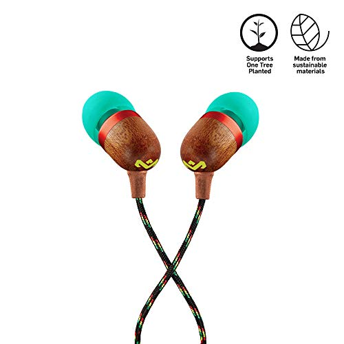 House of Marley, Smile Jamaica Wired In-Ear Headphones - In-line Microphone with 1-Button Remote, Noise Isolating, Durable, Tangle Free Cable, EM-JE041-RA Rasta