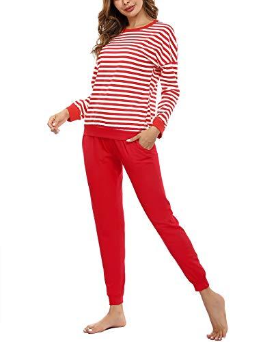 Doaraha Schlafanzug Damen Pyjama Set Zweiteilige Nachtwäsche Lang Baumwolle, Langarm Sleepwear Hausanzug Rot, Rundhals Sleepshirt Streifen & Pyjamahose
