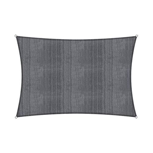 Lumaland Voile d'ombrage Cordes de Fixation incluses, 100% HDPE avec Le Filtre UV de Protection 3x4 Gris foncé