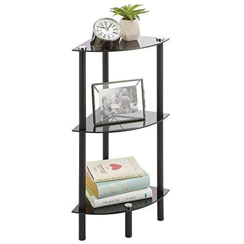 mDesign Mueble esquinero para ahorrar espacio en baños pequeños – Estantería rinconera con 3 estantes de vidrio – Mueble de baño ideal para cosméticos, toallas y accesorios – negro