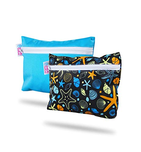 Petit Lulu wasserdichter Nasstasche 2er Pack | Wiederverwendbare Binden und Menstruationstassen | Wäschbaar und Wasserdicht | Organiser Täschlein | Hergestellt in EU (Muscheln/Blau)