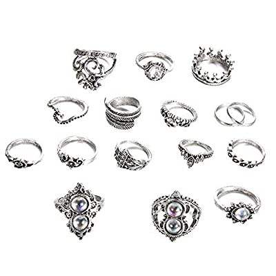 shiYsRL Exquisite Jewelry Ring Love Rings 16Pcs/Set Retro Boho Hamsa Hand Crown Finger Midi Knuckle Stacking Rings Jewelry Wedding Band Best Gifts for Love with Valentine's Day - Antique Silver