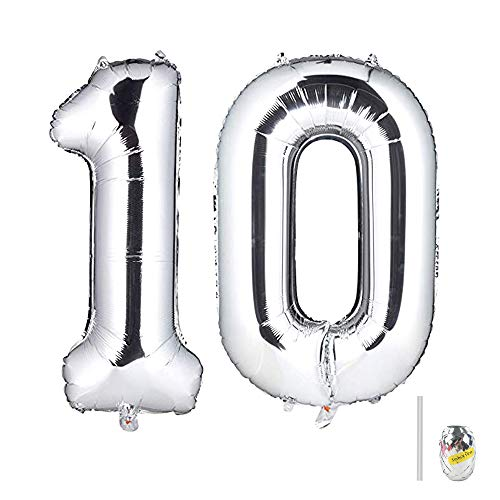 Huture 40 Inches Jumbo Digital Number Balloon Huge Giant Balloon Foil Mylar Balloons for Birthday Party Wedding Bridal Shower Engagement Photo Shoot Anniversary, Number 10 Silver Balloon