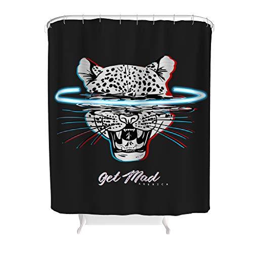 LAOAYI Tier Leopard Bedruckt Duschvorhänge Modern Anti-Schimmel Shower Curtain Tier Bad Vorhang aus Polyester Gift for Family White 150x200cm