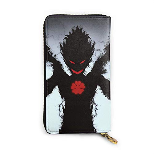 Mens Anime 3D Demon Zagred Black Clover Billetera de cuero Long Wallet Billfold RFID Blocking