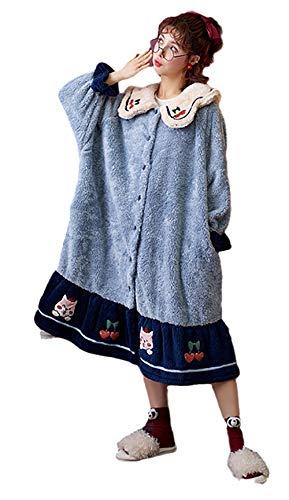 Abito Lungo da Donna Perfetto da salotto,Camisón de Pijama de Lana Coral para Mujer, camisón Largo de Invierno para el hogar, camisón-04_M_