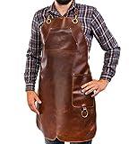 Angus Stoke Grembiule in Pelle di qualità Edizione Speciale Burger Unser - Grembiule da Grigliata 100% Pelle - Grembiule Vintage in Pelle per Barbecue e Cucina (L-XL)