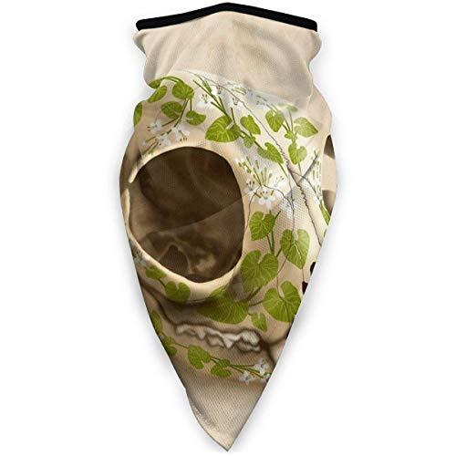 Máscara de calavera de gato decorada con flores Wasabi al aire última intervensión, resistente al viento, para deportes, bandana, bufanda, pasamontañas, multifuncional, para hombres, mujeres, color negro
