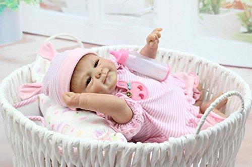 Reborn Babypuppen aus weichem Silikon, realistisch, Panda-Coat, Schwarz, für Kinder ab 3 Jahren, Spielzeug, 45 cm