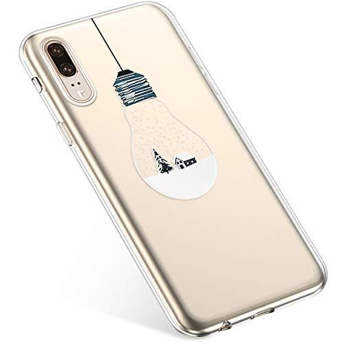 Uposao Kompatibel mit Handyhülle Huawei P20 Schutzhülle Silikon Transpatente Hülle mit Weihnachten Muster Durchsichtige Handytasche Ultra Dünn Weich TPU Bumper Case Backcover,Lichter