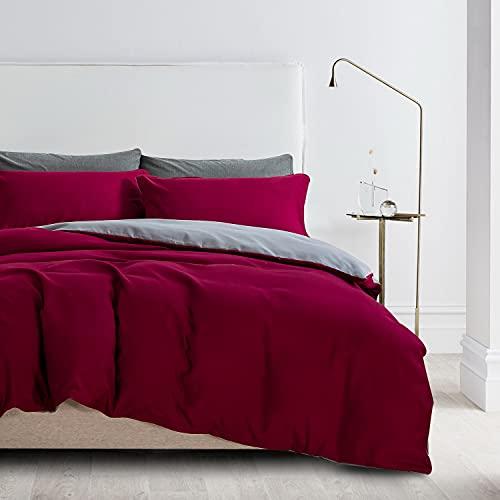Ropa de cama de 135 x 200 cm, color rojo vino, microfibra, ropa de cama reversible, 2 piezas, monocolor, funda nórdica de 135 x 200 cm + 80 x 80 cm, cama doble