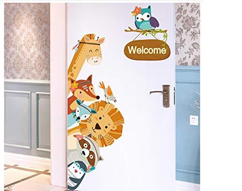 Terilizi Cartoon dierlijke muur Sticker DIY kinderen muurschildering patroon voor baby kamer slaapkamer kast deur decoratie voor kinderen kamer