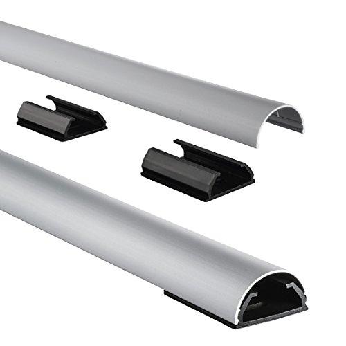 Hama Stabiler Kabelkanal aus Aluminium silber (1,1 Meter Länge, für 5 Kabel, robuste halbrunde Metall Kabelabdeckung)