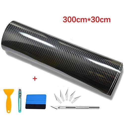Kaliwa 6D Pellicola Adesiva Carbonio - Pellicola Adesiva per Auto 6D Fibra di Carbonio Adesiva 300cm*30cm (Nero)