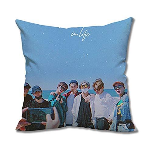 ZYFXZ BTS Cushion Cover,Super Soft Velvet Square Pillowcases , Kpop Pillowcase Cute Character Print Pillow Case Hot Gift For Fans Best Gift for A.R.M.Y (Color : U, Size : 35x35cm)