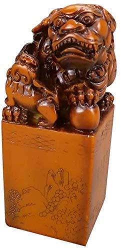 DCLINA Estatua Tallada con Sello Piedra Shoushan Perro Feng Shui Fu Foo, Riqueza, Porsperidad, decoración Oficina en casa, estatuas león para protegerse la energía Negativa