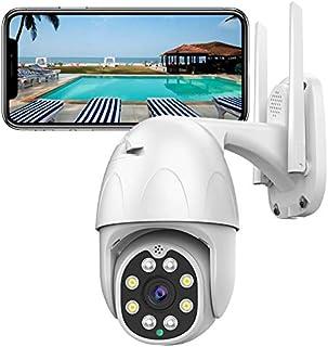 PTZ Camara Vigilancia Exterior Visión Nocturna Detección de Movimiento Notificación de Alarma 320° Pan/110° Tilt