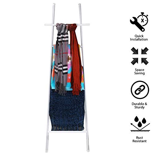 M-TOP Leaning Ladder Rack Zwart, Gratis Staande Bad Handdoek Bar Opslag Ladder, 6 Niveaus Decoratieve Deken Opslag Ladder roestvrij staal, Quilt Rack Handdoek Drogen en Display Rack