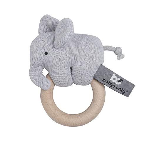 baby's only 855402 Holz-Greifling / Rassel Elefant Silber grau