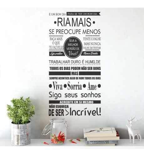 Adesivo Decorativo De Parede Frases Viva Sorria Ame Acredite