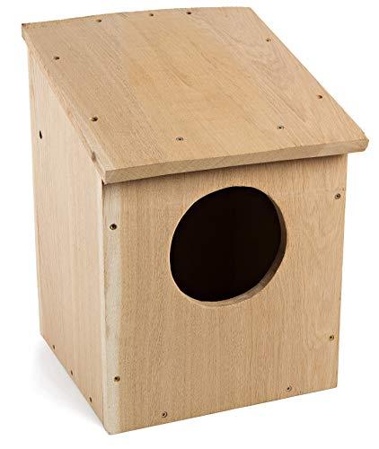 NEST TO NEST Casita De Pajaros Casa Búho | Caja Nido para Pájaros De Madera De Roble I Nidos para Pajaros