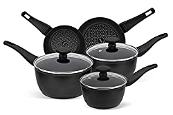✅ COOKWARE SET NON STICK – diamond infused non stick cookware for easier and healthier cooking with no or little oil needed. The non stick is safe making this a PFAO free pots and pans set. ✅ HEAT INDICATOR – useful heat indicator located in the heat...