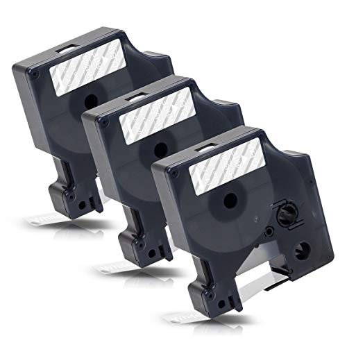 3x Labelwell 12mm x 7m Compatible Cintas de Etiqueta Reemplazo para DYMO D1 45020 S0720600 Blanco sobre Transparente para Dymo LabelManager 160 280 260P 360D 420P LabelWriter 450 DUO LabelPoint 150