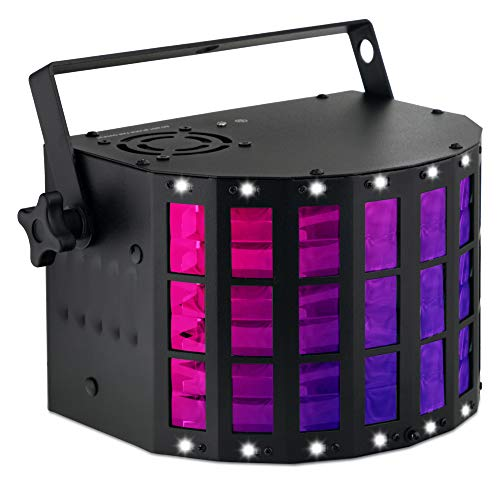 Showlite DS-3 LED Derby Lichteffekt - Hybrid-Strahleneffekt mit Stroboskop - RGBW Licht-Effekt für Party, Bar und mobile DJs - Hybrid Strahler mit DMX Steuerung & Mikrofon für Musiksteuerung