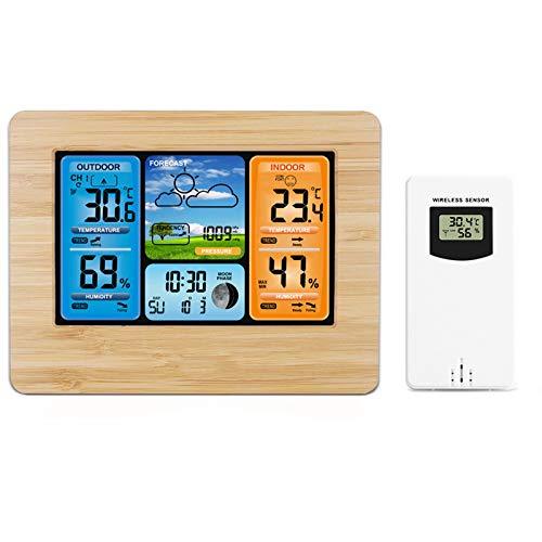 EEEKit Wetterstation Funk mit Außensensor Holz Weather Station Wireless mit Farbdisplay Thermometer innen/ausen Digitaler Wecker Feuchtigkeitsmonitor Barometer für Indoor Outdoor Zuhause Büro