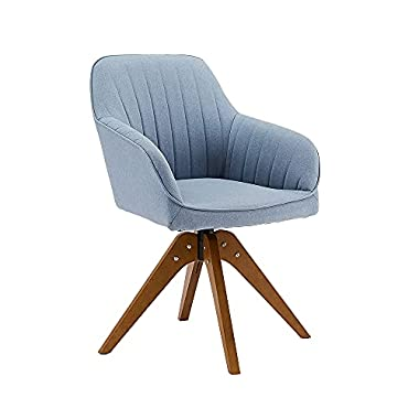 CangLong Mid-Century Modern Swivel Accent Chair with Wood Legs Armchair for Home Office Study Living Room Vanity Bedroom…