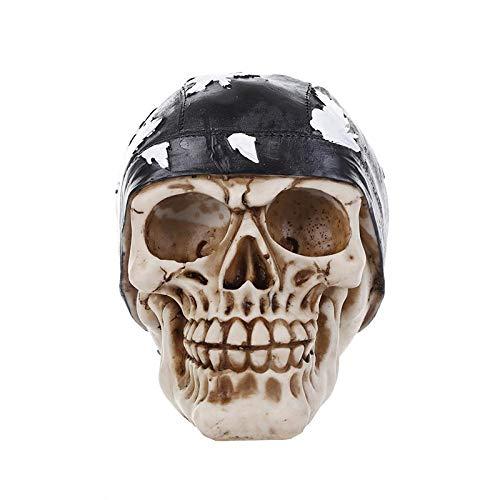 LOSAYM Esculturas Y Estatuas De Jardín Resina Artesanía Cabeza Humana Cráneo Figuras Escultura Decoración Prop Esqueleto Cabeza Halloween Barras De Café Ornamento Estatuas para Decoración