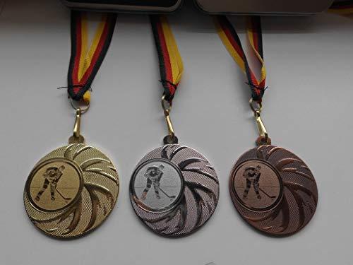 Fanshop Lünen Medaillen Set - aus Stahl 45mm - Eishockey - Puck - Gold, Silber, Bronze - Medaillenset - mit Medaillen-Band - mit Alu Emblem 25mm (Gold,Silber,Bronce) - (e108) -