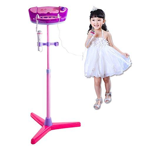 Foxom Karaoke Micrófono, Recargable Bluetooth Karaoke Micrófono Juguete con 2 Micrófonos con Pie Juguete Musical para Niños Niñas o Niño (Rosado)